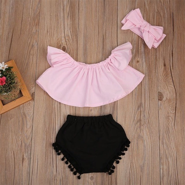 9cb8aae2eda1 Pudcoco 3PCS Summer Cute Baby Girls Fashion Outfit Newborn Baby Girl  Clothes Set Off Shoulder Top