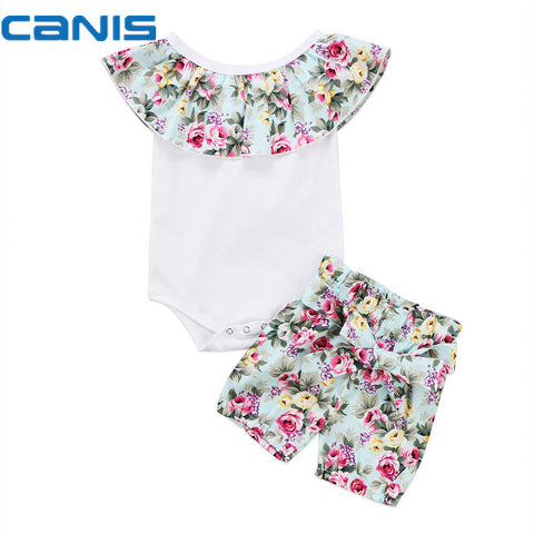 Casual Newborn Toddler Infant Baby Girl Cotton Romper Crop Tops Shorts 2Pcs Outfit Floral Clothes 0-24M