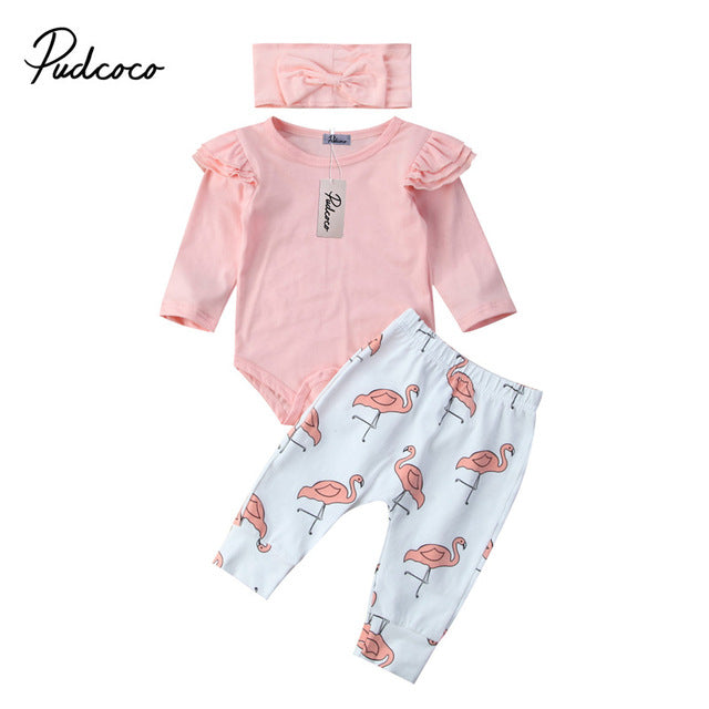 ced1888a2197 3PCS Set Cute Baby Girl Clothes Spring Toddler Kids Tops+Flamingo Print  Pants Leggings Headband