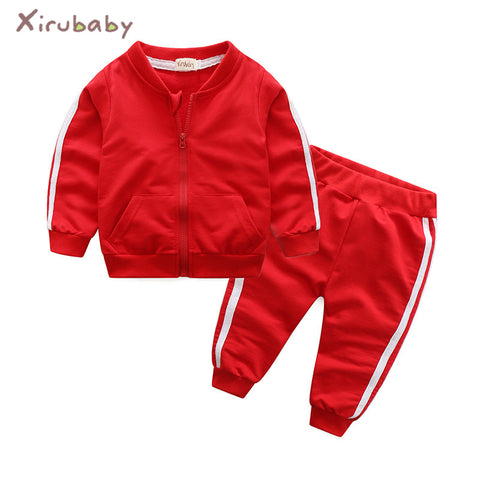 Autumn  baby girl clothes cotton long sleeve solid zipper jacket+pants 2pcs tracksuit baby boy clothing set