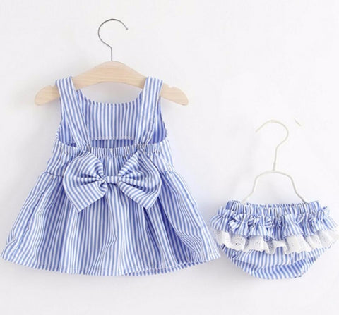 Baby Girls Newborn Dress Clothes  Cute Bowknot Striated Sleeveless Girl Dress + PP Pants infant 2pcs Clothing Sets Kids