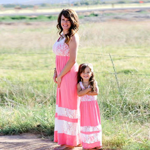 Family Matching Outfits mother daughter dresses Ankle-Length Maxi dress mommy and me clothes Stripe Bohemian Summer Style