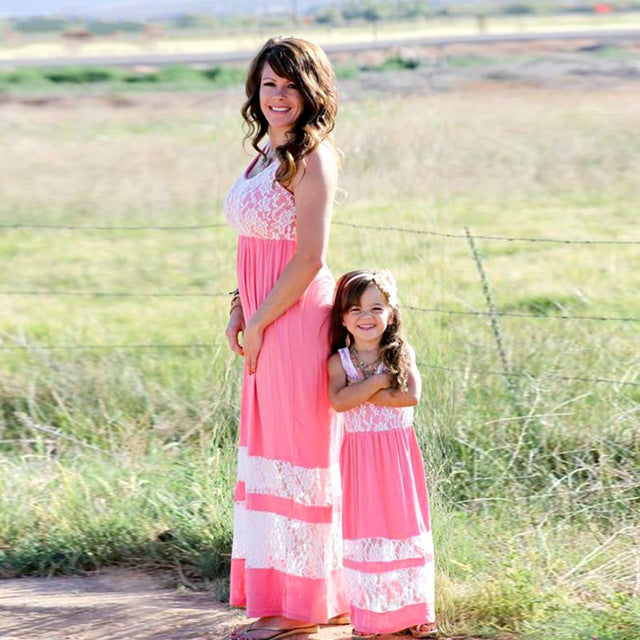 debd7870e2 Family Matching Outfits mother daughter dresses Ankle-Length Maxi dress  mommy and me clothes Stripe