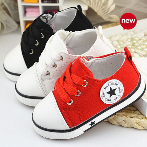 Baby Casual Shoes 3 Colors Classic Baby Canvas Shoes Fashion Brand Baby Boys sneakers lace-up kids shoes for baby girls