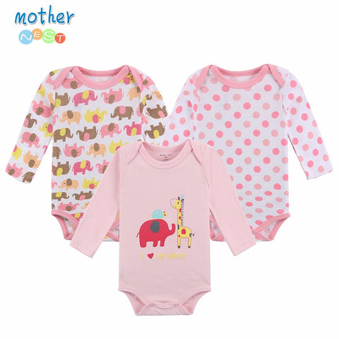 100% Cotton Baby Bodysuit 3pieces/lot Autumn Newborn Cotton Body Baby Long Sleeve Underwear Infant Boy Girl Pajamas Clothes