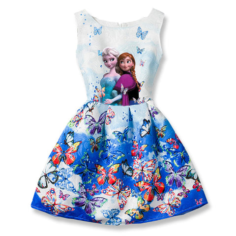 Summer Girls Dresses Elsa Dress Anna Princess Party Dress For Girls  Teenagers Butterfly Print Baby Girl Clothes