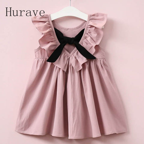Hurave Summer  Casual Style Fashion Fly Sleeve Girls Bow Dress Girl Clothing For Children Cute Dresses