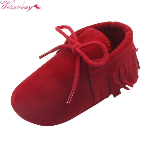 Baby Boys Girls Moccasins Shoes First Walkers  Fringe Soft Soled Non-slip Footwear PU Leather Crib Shoes