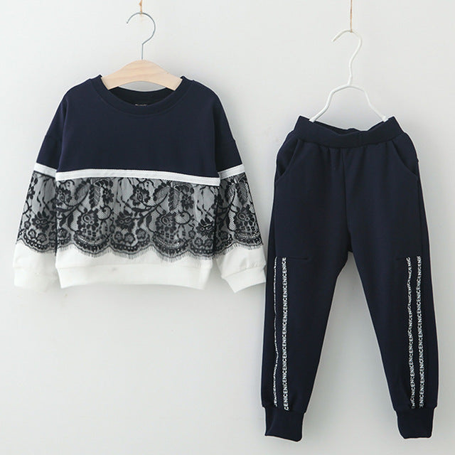 31fef251d4 Autumn Winter Girls Clothes T-shirt+Pants Costume Kids Clothes Girls Sport  Suit For Girls Clothing Sets