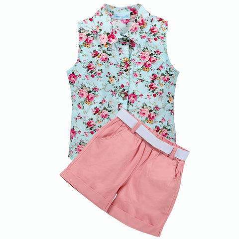 Kids Clothes  Sleeveless Summer Style Baby Girls Shirt +Shorts + Belt 3pcs Suit Children Clothing Sets