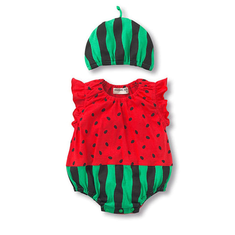 Watermelon Sleeveless Baby Girls Jumpsuits
