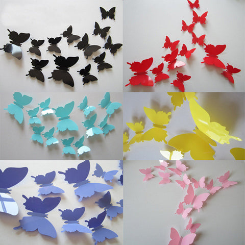 3D PVC Butterfly Wall Stickers (12 Pcs/Set)