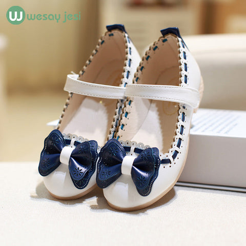 leather shoes - Bowtie flower toddler girl school shoes wedding party
