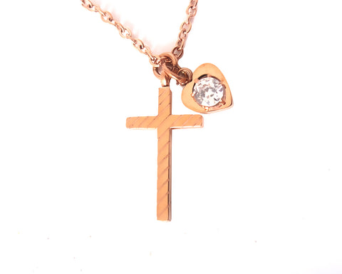Gold Cross Necklace with Heart and Crystal for Women