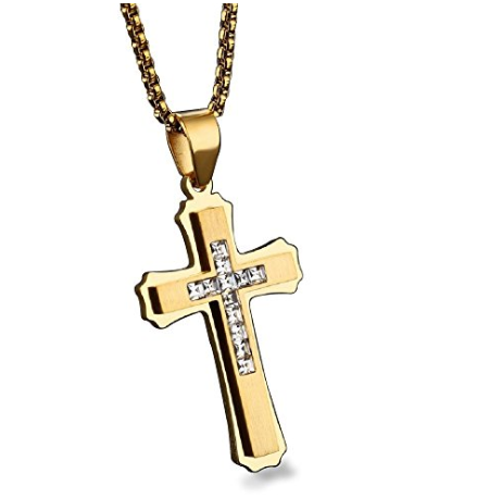 Cross Necklace for Men, Gold Plated Stainless Steel Titanium - Best Gift for Baptism / Christening / Christmas / Birthday for Men, Pastor, Priest, Teens, Boys, Holy Religious Christian, Catholic Gifts