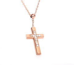 Gold Cross Necklace with Crystal for Women / Girl
