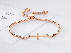 Sideways Cross Bracelet Adjustable - Best Quality Gold Plated - Unique Baptism Gift, Christening, Christmas, Birthday, for Women, Teen, Girls, Kid, Baby; Holy Religious Christian, Catholic Gift