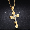 Image of Cross Necklace for Men, Gold Plated Stainless Steel Titanium - Best Gift for Baptism / Christening / Christmas / Birthday for Men, Pastor, Priest, Teens, Boys, Holy Religious Christian, Catholic Gifts