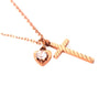 Image of Gold Cross Necklace with Heart and Crystal for Women