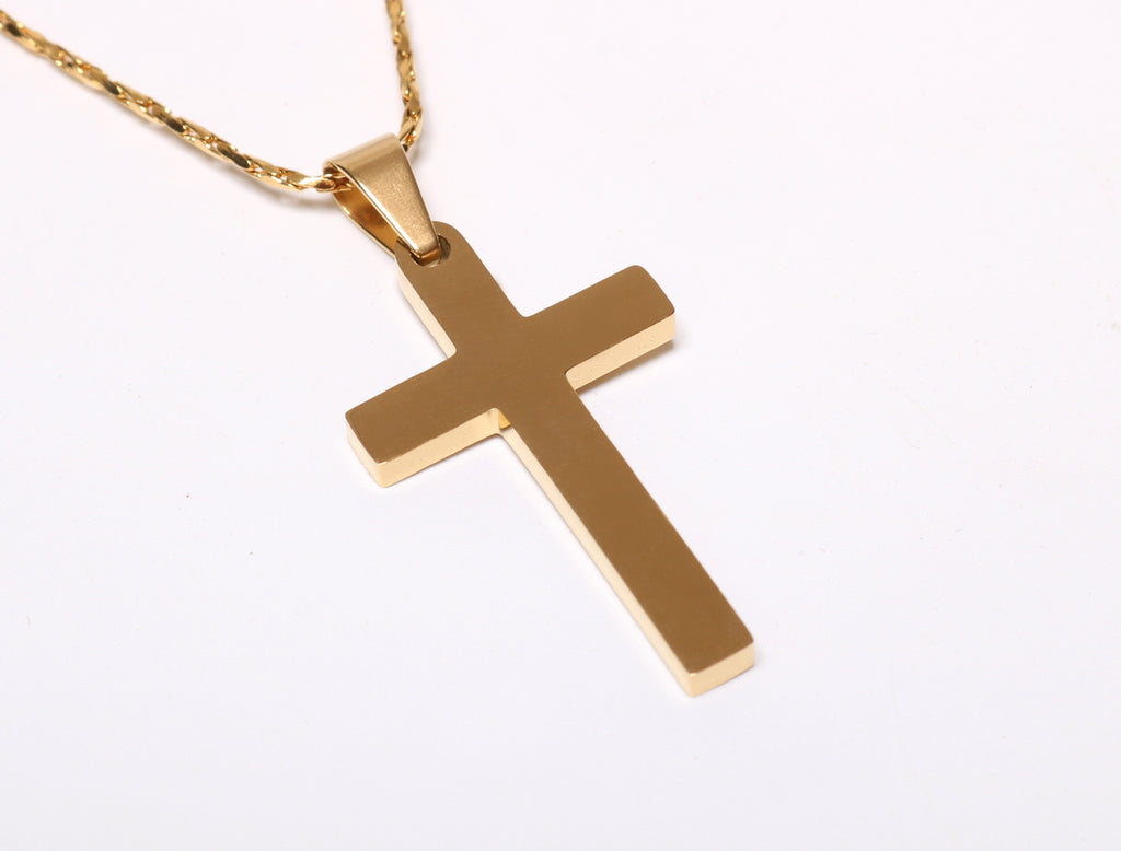 Silver or Gold Plated Cross Pendant Necklace