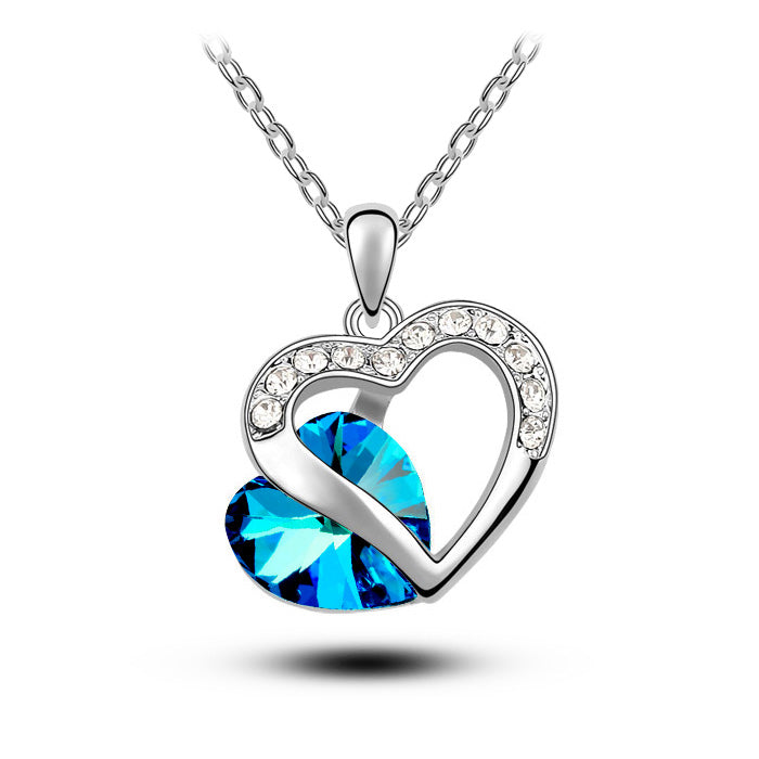 Blue Crystal Heart Pendant Fashion Jewelry Necklace