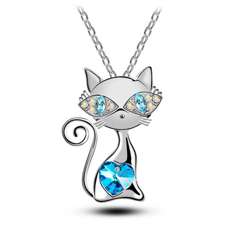 Cute Cat with Crystal Heart and Eyes Fashion Jewelry Necklace