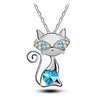 Image of Cute Cat with Crystal Heart and Eyes Fashion Jewelry Necklace