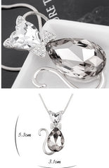 Heart & Teardrop Crystal Cat Pendant Fashion Jewelry Necklace (Long Chain)