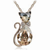 Image of Heart & Teardrop Crystal Cat Pendant Fashion Jewelry Necklace (Long Chain)