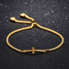 Image of Sideways Cross Bracelet Adjustable - Best Quality Gold Plated - Unique Baptism Gift, Christening, Christmas, Birthday, for Women, Teen, Girls, Kid, Baby; Holy Religious Christian, Catholic Gift