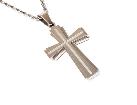 Cross Necklace Silver or Gold Plated with CZ Gemstone for Men