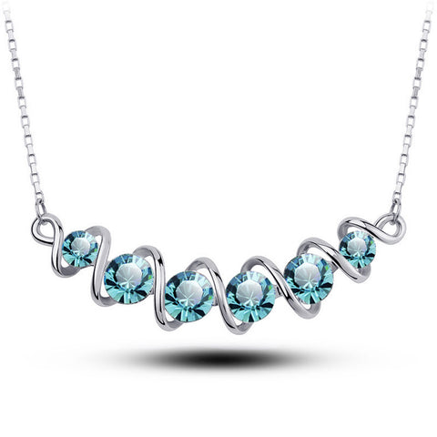Blue Wave Crystal Pendant Fashion Jewelry Necklace