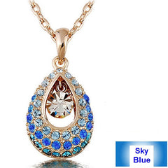 Elegant Crystal Angel Teardrop Pendant Fashion Jewelry Necklace
