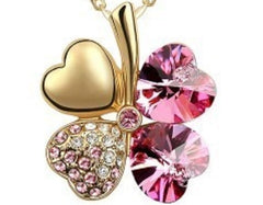 Lucky Four-Leaf Clover Crystal Pendant Fashion Jewelry Necklace (Rose Red)