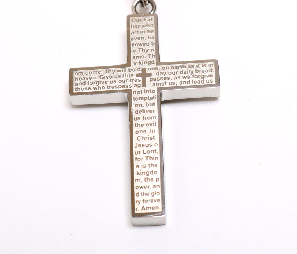 Lord's Prayer Silver or Gold Plated Cross Necklace