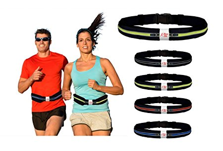 Running Belt for Large Phone - Best Reflective, Adjustable Double Pouch Waist Pack - Fits iPhone 8 7 6 Plus X & All Smartphones, Water / Sweat Proof – Gift...