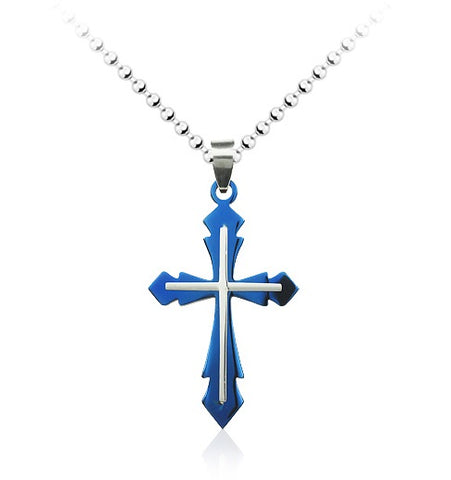 Blue Cross Pendant Necklace Fashion Jewelry