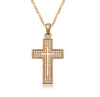 Image of Elegant Cross Pendant Fashion Jewelry Necklace 18K Gold Plated with Sparkling CZ Gemstones