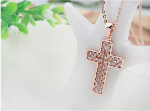 Elegant Cross Pendant Fashion Jewelry Necklace 18K Rose Gold Plated with Sparkling CZ Gemstones