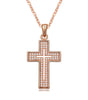 Image of Elegant Cross Pendant Necklace 18K Rose Gold Plated