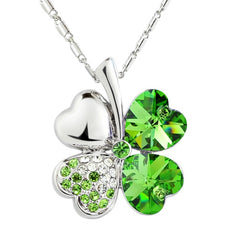 Lucky Four-Leaf Clover Crystal Pendant Fashion Jewelry Necklace (Green Crystal)
