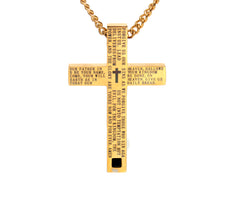 Lord's Prayer Gold Cross Pendant Necklace for Men