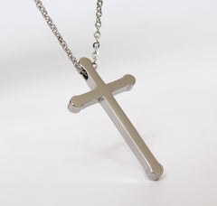 Silver Cross Pendant Stainless Steel Necklace Fashion Jewelry
