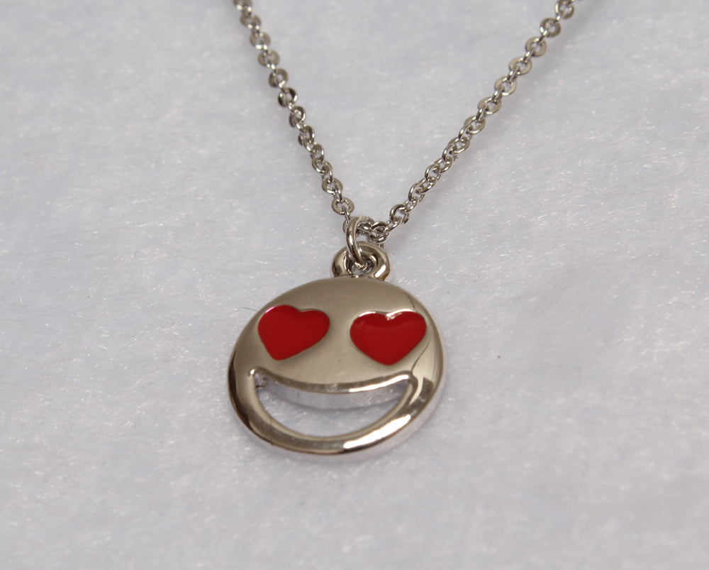 Smiley Emoji Silver Plated Fashion Pendant Necklace – Great Christmas Presents for Emoji Fans