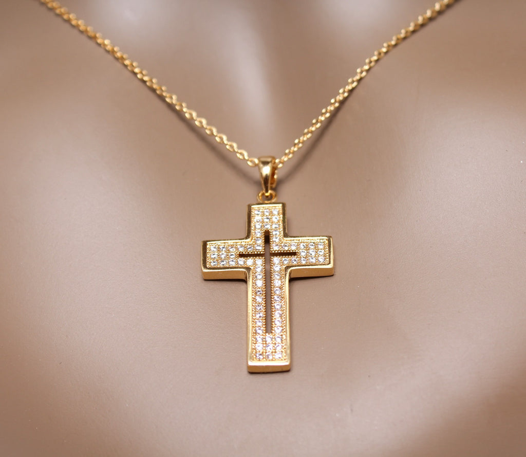 Elegant Cross Pendant Necklace 18K Rose Gold Plated