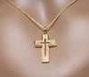 Image of Elegant Cross Pendant Fashion Jewelry Necklace 18K Rose Gold Plated with Sparkling CZ Gemstones