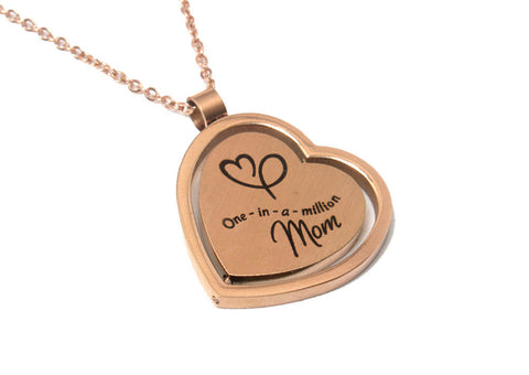 "Mother's Day Gift Jewelry - Unique Rotating Heart Pendant ""One in a Million Mom"" Necklace - Rose Gold Plated"