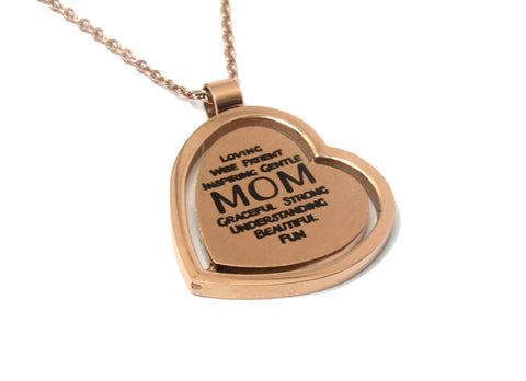 Mother's Day Gift Jewelry - Rose Gold Plated Heart Pendant Necklace for Mom