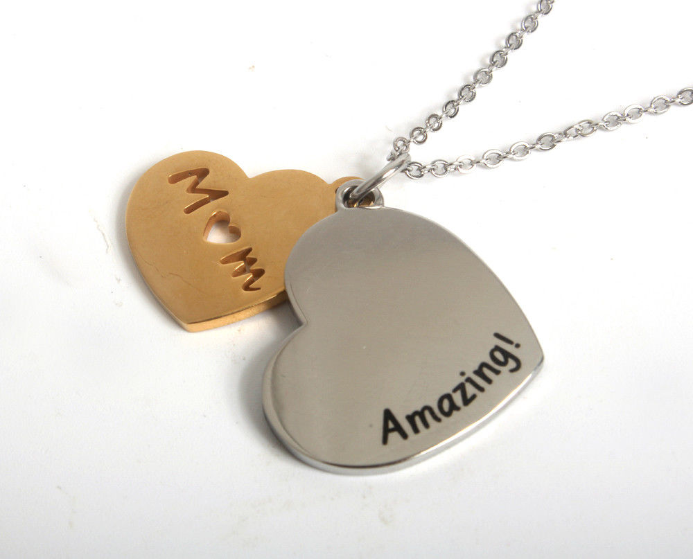 Mother's Day Gift Jewelry Necklace- Amazing Mom Silver Gold Plated Heart Pendant