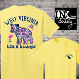 West Virginia Bear T-shirt. Southern Style Tee